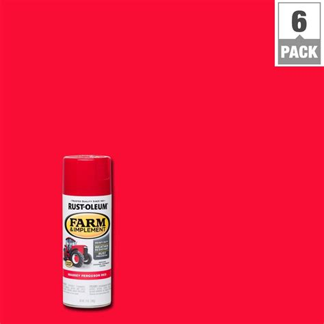 rust oleum 12 oz farm and implement massey ferguson spray paint 6 pack 280134 the home