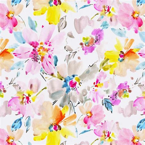 Floral Chair Pad Kode Ss9603 watercolor floral fabric by the yard pink fabric