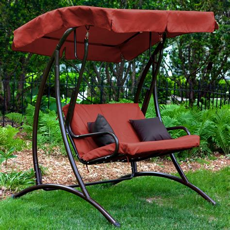 porch patio swing coral coast long bay 2 person canopy swing terra cotta