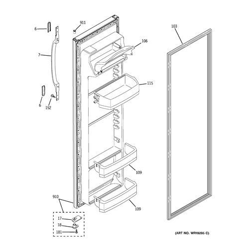 hotpoint refrigerator  series fresh food door parts