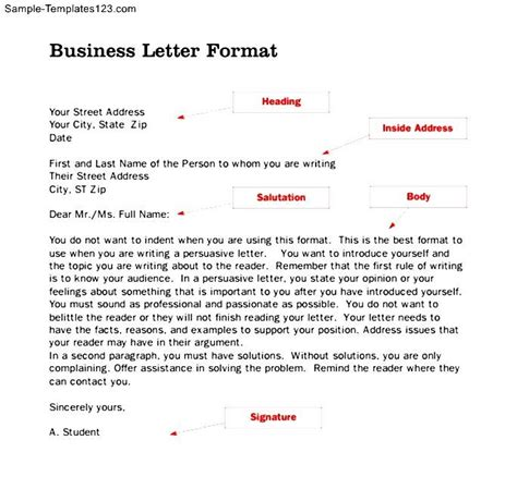 Business Letter Exle With Parts Optional Parts Of A Business Letter Sle Templates