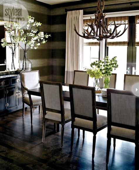 Interior Cozy Euro Chic The Chandelier Dark And Chic Dining Room Ideas