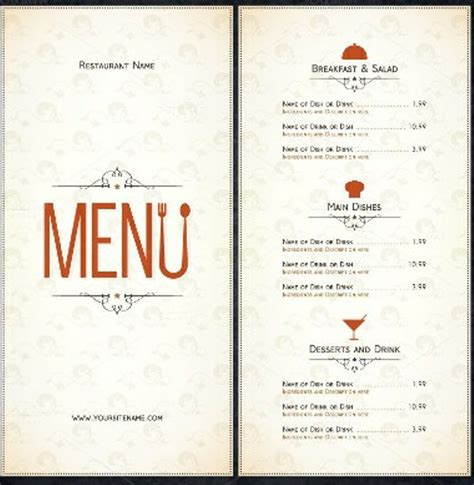vintage menu template vintage restaurant menu template templatezet