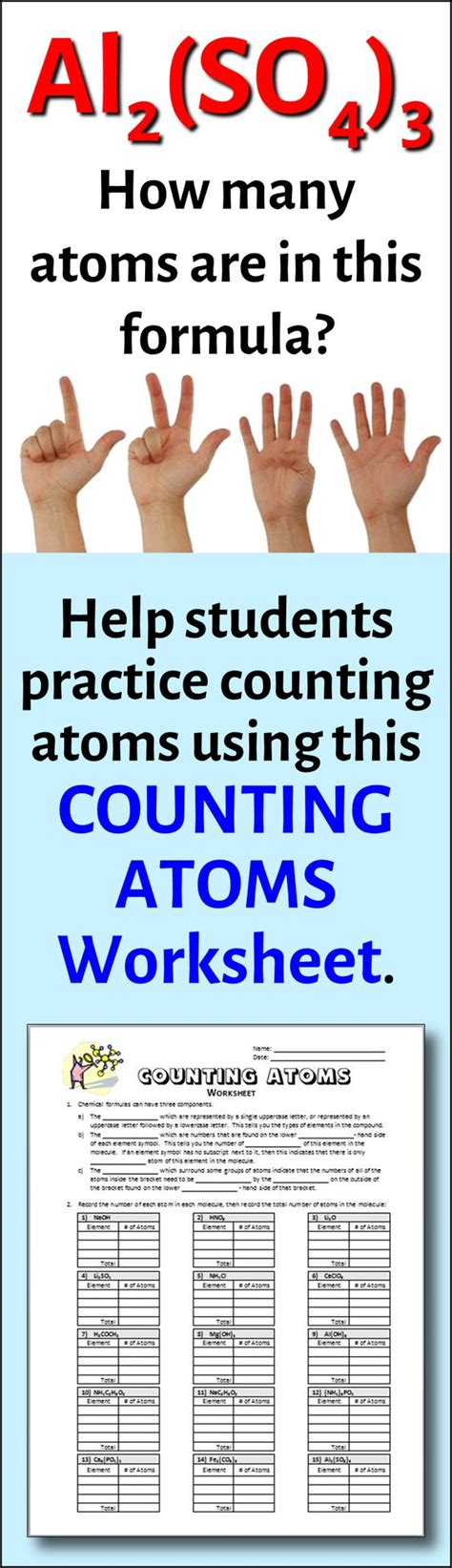 Number Of Atoms In A Formula Worksheet Answers by Counting Atoms Worksheet Editable Equation Count And
