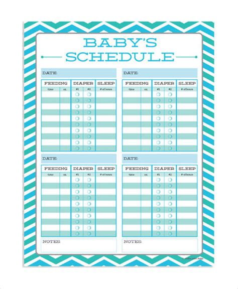 baby feeding chart template baby feeding schedule 9 free word pdf psd documents