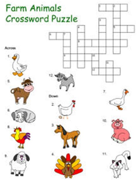 printable animal crossword puzzle crossword puzzle templates for preschool through grade 3