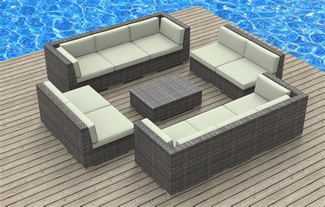 furnishing bermuda 11pc modern wicker rattan patio