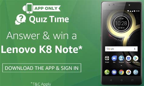 amazon quiz time amazon quiz time answer win lenovo k8 note answers added