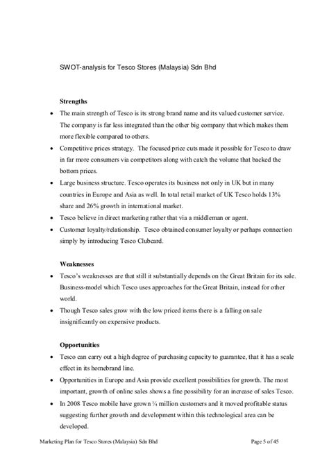 Marketing Plan Assignment For Mba by Swot Analysis Tesco 2014 Images