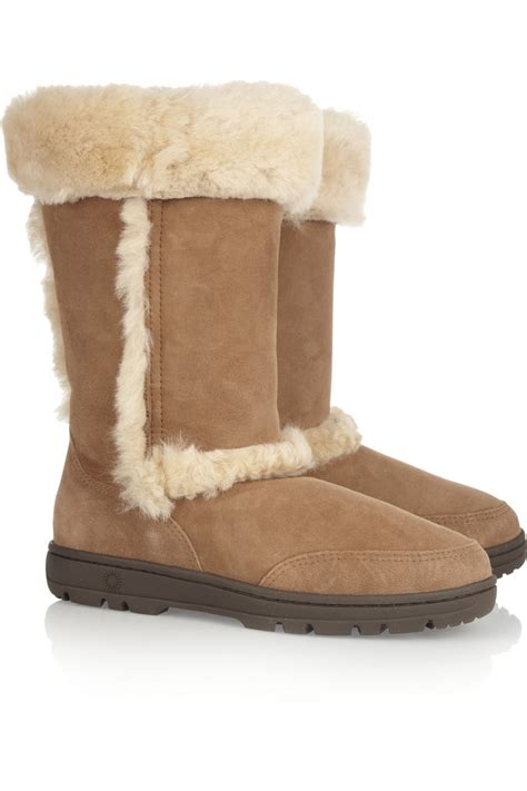 ugg shearling boots in brown lyst