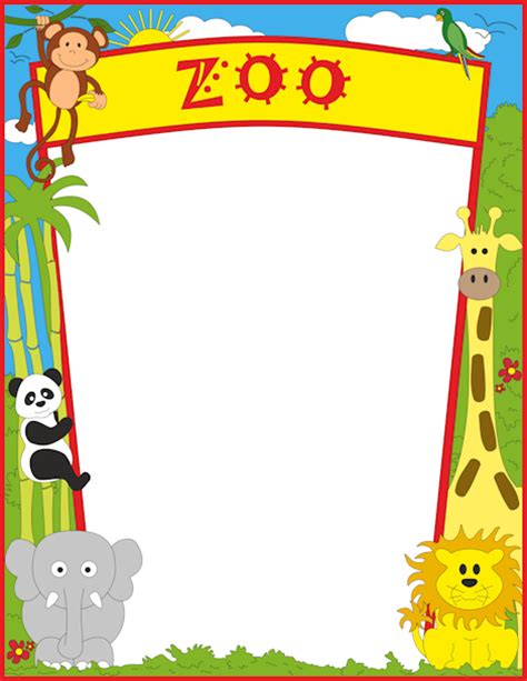 animal border writing paper a page border featuring zoo animals free downloads at