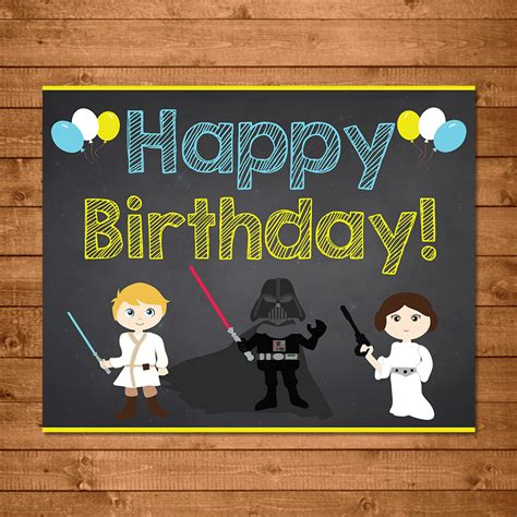 imagenes happy birthday star wars star wars happy birthday sign chalkboard illustrations star