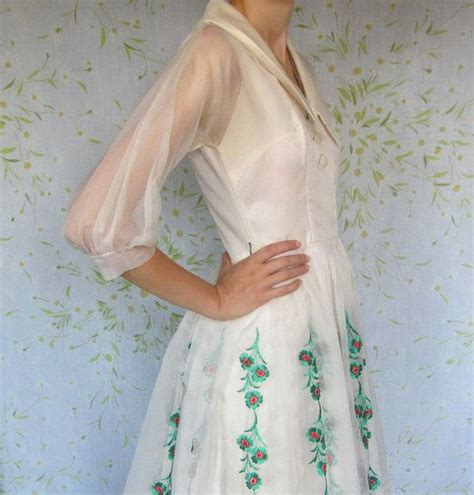 50s ivory organza dress christmas wedding or party dress
