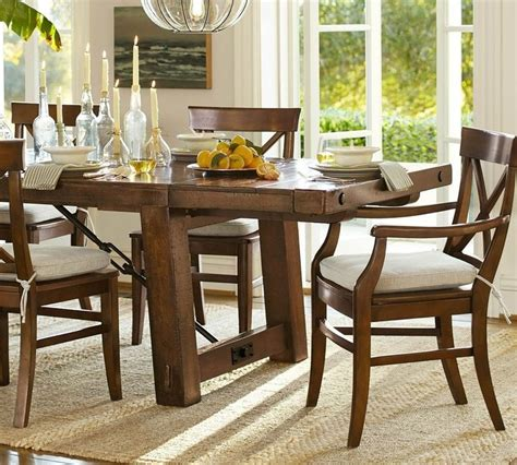 How To Stain A Dining Room Table Pottery Barn Benchwright Extending Dining Table Rustic Mahogany Stain For The Home