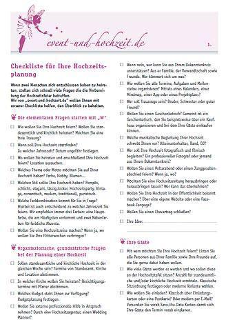 Checkliste Hochzeit by Checklisten F 252 R Die Organisation Und Planung Einer