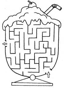 Ice Cream  Cup Maze Coloring Pages sketch template