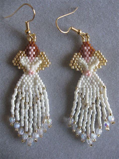 delica beaded earrings beaded earrings in ivory delica seed by