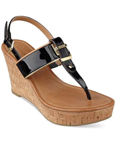 hilfiger wedge sandals hilfiger maree platform wedge sandals in black