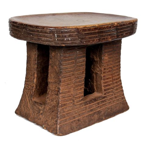 Carved Wood Stool by Tribal Cameroon Grasslands Wood Carved Stool 20th