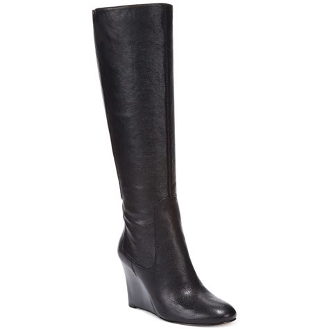 nine west heartset wedge dress boots in black black