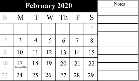 february calendar   printable template  word