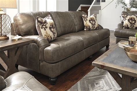 Benchcraft Leather Sofa Benchcraft Kannerdy 8040238 Leather Match Sofa With Arms Dunk Bright Furniture Sofa