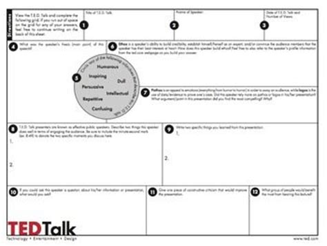 ted talk worksheet answers ted talks free worksheet to use with any ted talk speaking grades 6 12