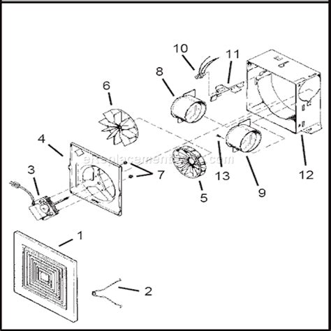 bathroom fan 688 j and 1 2 broan 688 parts list and diagram ereplacementparts