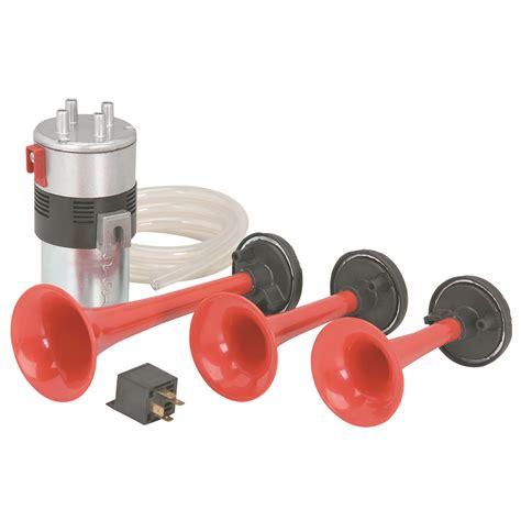 three trumpet 12 volt air horn set with compressor
