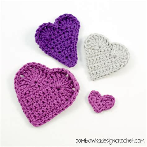 crochet pattern heart applique hearts love and valentine s day free crochet pattern