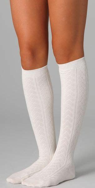 cable knit knee high socks falke striggings cable knit knee high socks in white lyst