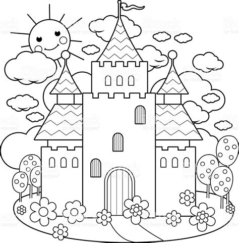fairy tale castle clipart black and white clipartfest