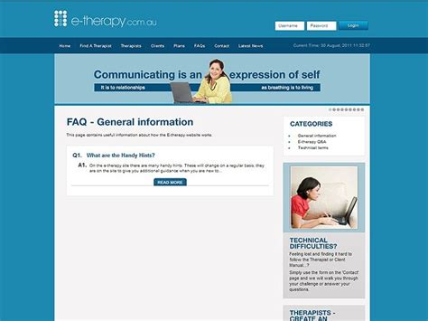 faq section on website e therapy com au silvertrees