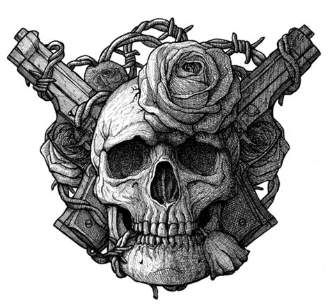 skull rose gun tattoo skull guns and roses by dariusm1993 on deviantart