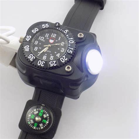 Fungsi Jam Tangan Led jam tangan multifungsi led flashlight cree dengan kompas black jakartanotebook