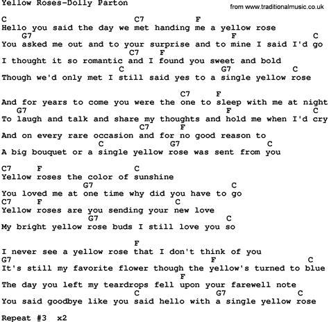 testo jolene country yellow roses dolly parton lyrics and chords