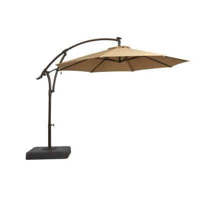 Patio Umbrella Base Home Depot Hton Bay 11 Ft Offset Led Patio Umbrella In
