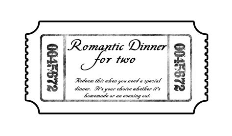 Thoughtful Thursday Love Tickets While He Was Napping Dinner Ticket Template Free
