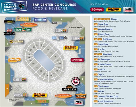 san jose parking map arena food beverage sap center