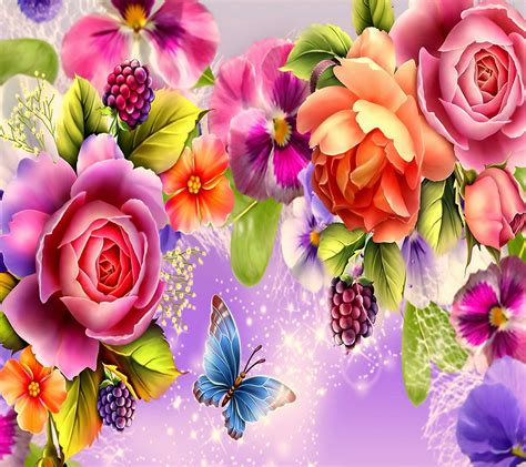 whatsapp wallpaper of flowers flowers admiring flower colorful butterfly roses rose