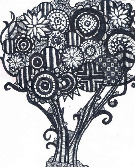doodle draw tree zendoodle tree drawing by tiffanie dye