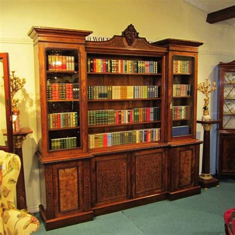 Library Bookcase With Doors Large Walnut Antique Bookcase Antiques Atlas