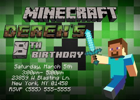 minecraft birthday card template printable minecraft birthday invitations template