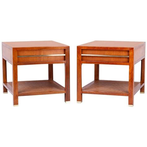 bedroom side tables for sale pair of nightstands or end tables with brass and cane