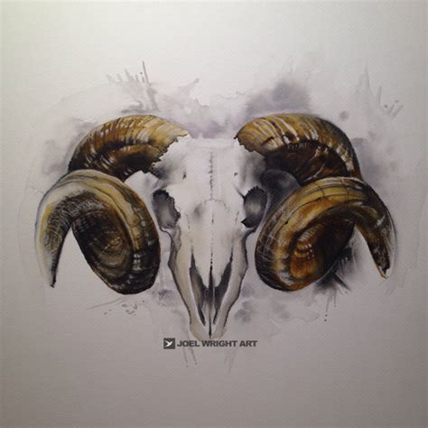 watercolor ram skull tattoo