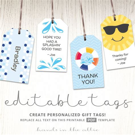 Gift Tag Template Editable Editable Gift Tags Gift Tag Template Favor Tags Pool Party