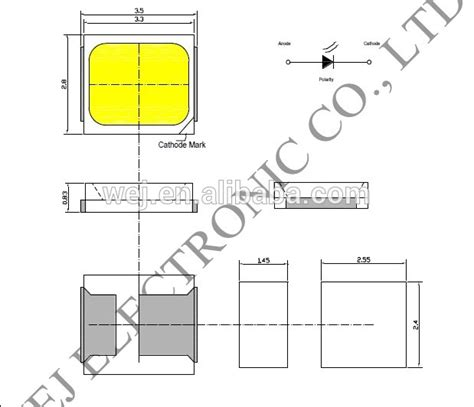 led dioda datasheet 45 65lm 80ra 0 5w smd 2835 smd led diode datasheet view 0 5w 2835 smd led wej product details