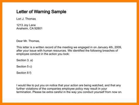 format for warning letter 9 sle warning letter to employee hostess resume