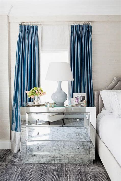 two tone blue bedroom blue and gray curtains transitional bedroom