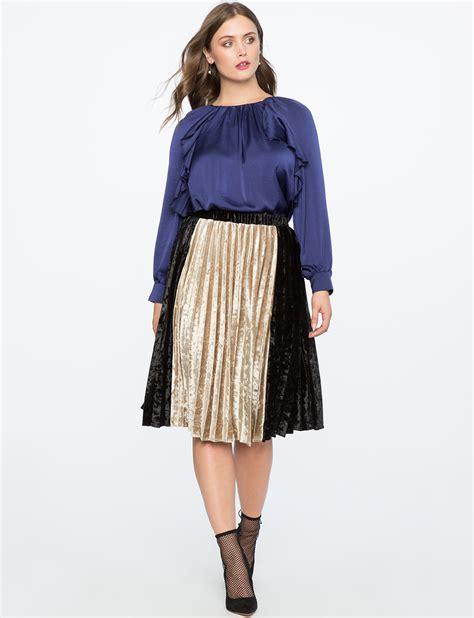 Color Block Midi Skirt pleated velvet midi skirt with color block detail